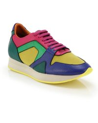 Burberry Colorblock Leather & Fabric Sneakers - Lyst