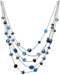 Style & Co. - Silver-tone Blue Five-row Illusion Necklace - Lyst