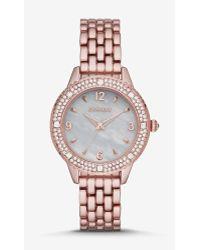 Express - Pave Bezel Analog Bracelet Watch - Rose Gold - Lyst