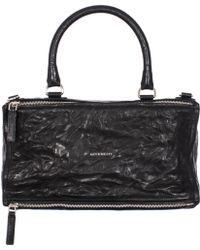 "Givenchy Black Washed Leather Large ""Pandora"" Bag black - Lyst"