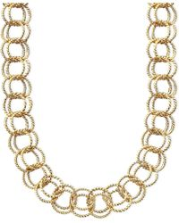 Betsey Johnson Textured Round-Link Necklace - Lyst