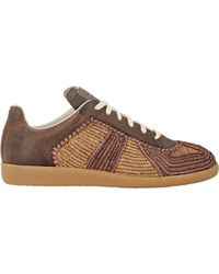 Maison Margiela Raffia & Leather Sneakers - Lyst