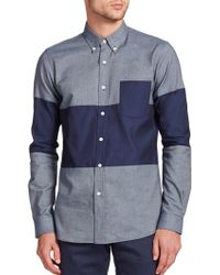 Timo Weiland Malcolm Middle Stripe Cotton Sportshirt blue - Lyst