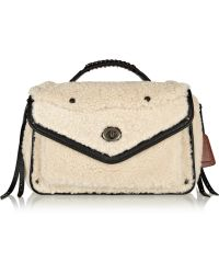 Coach Rhyder Leathertrimmed Shearling Shoulder Bag - Lyst