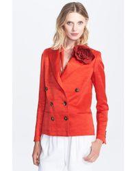 Lanvin Double Breasted Linen Blend Jacket - Lyst