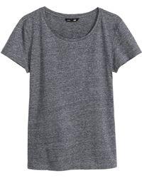 H&M T-Shirt In Slub Jersey - Lyst
