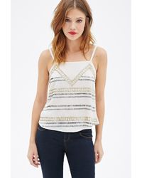 Forever 21 Sequined Geo-Pattern Cami - Lyst