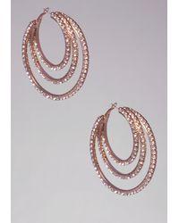 Bebe Rhinestone Hoop Earrings - Lyst