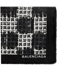 Balenciaga Scribble Check Scarf - Lyst