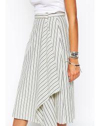 Asos Midi Skirt In Stripe With Waterfall Drape - Lyst