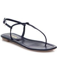 Prada Leather Thong Sandals blue - Lyst