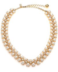 Kate Spade Twinkling Fete Crystal & Faux Pearl Collar Necklace - Lyst