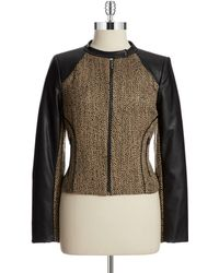 Calvin Klein Tweed and Faux Leather Moto Jacket - Lyst