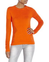 Rachel Roy Mesh Insert Knit Top - Orange