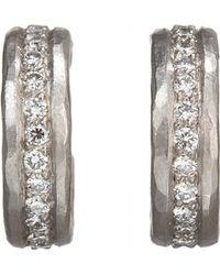 Malcolm Betts - White Diamond & Hammered Platinum Half - Lyst