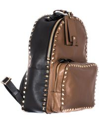 Valentino Black And Brown Leather Rockstud Backpack gold - Lyst
