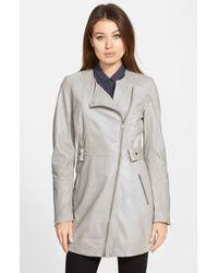 Lamarque Asymmetric Collarless Leather Coat - Lyst