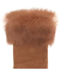 Kurt Geiger - Fur Knitted Gloves - Lyst