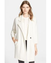 Autumn Cashmere Double Face Knit Car Coat - White