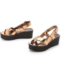 Won Hundred - Saga Low Flatform Sandals - Copper - Lyst