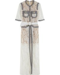 Alessandra Rich Contrast Lace Gown - Lyst