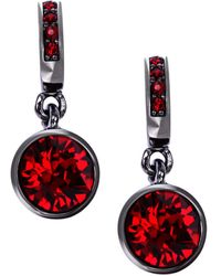 Givenchy Hematite-tone and Red Stone Drop Earrings - Lyst