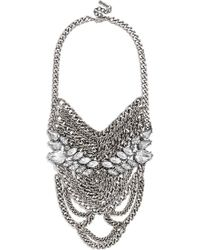 BaubleBar Women'S 'Crystal Sheba' Bib Necklace - Clear/Antique Silver - Lyst