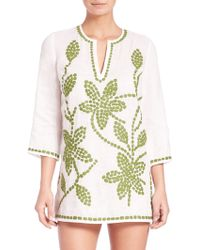 Tory Burch | Embroiderd Floral Linen Tunic | Lyst