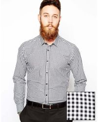Asos Smart Shirt in Long Sleeve with Gingham Check - Lyst
