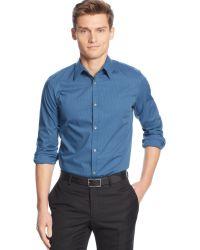 Calvin Klein Non-iron Mini Stripe Poplin Shirt - Lyst