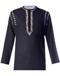 Saint Laurent Embroidered Tunic Top - Black