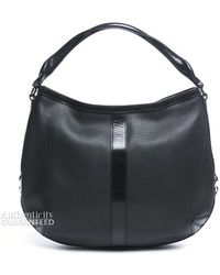Burberry Pre-Owned Black Perforated Leather Medium Hobo Bag - Lyst