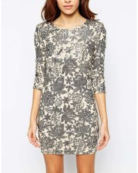TFNC Body-Conscious Dress With Floral Sequin Embellishment - Lyst