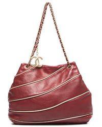 Chanel Red Lambskin Constructivism Shoulder Bag - Lyst