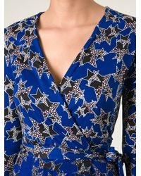 Diane Von Furstenberg Star Print Mini Wrap Dress - Lyst