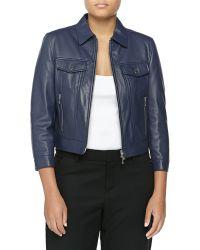Michael Kors Leather 3/4-Sleeve Jacket - Lyst