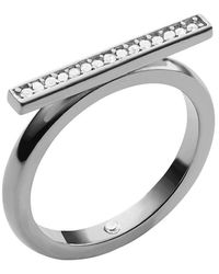 Michael Kors Silver Tone  Crystal Bar Ring - Lyst