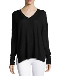 Vince Double V-Neck Rib-Trim Sweater - Lyst