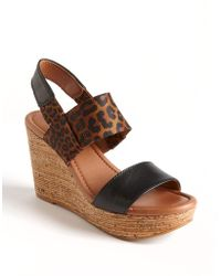 Lucky Brand Molina Wedge Leather Sandals - Lyst