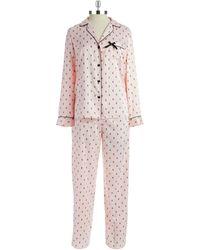Betsey Johnson Patterned Satin Pajama Set - Lyst