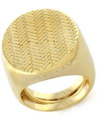 Cole Haan - Goldtone Basketweave Signet Ring - Lyst