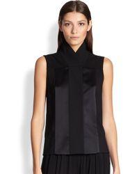 Donna Karan New York High-Collar Mixed-Media Blouse black - Lyst