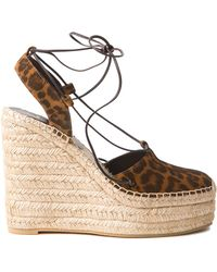 Saint Laurent Leopard Espadrille Wedges - Lyst