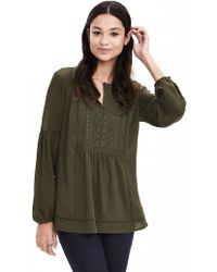 Banana Republic | Embroidered Crepe Blouse | Lyst