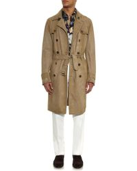Gucci Suede Trench Coat - Brown