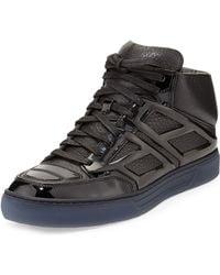 Alejandro Ingelmo Pebbled Calfskin High-Top Sneaker black - Lyst