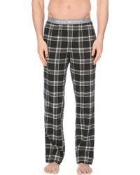 Emporio Armani Checked Cotton Trousers - Lyst