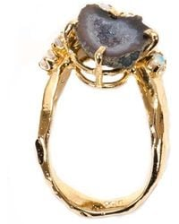 Unearthen Lune Ring With Tabasco Geode And Opals gold - Lyst
