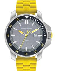 Tommy Bahama | Men'S Big Island Diver Yellow Silicone Strap Watch 50Mm 10018386 | Lyst