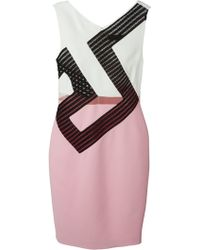 Versace Fitted Mesh Insert Dress pink - Lyst